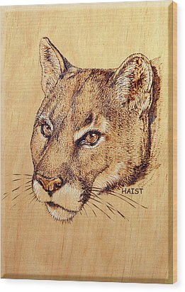 Wood Print featuring the pyrography Cougar by Ron Haist