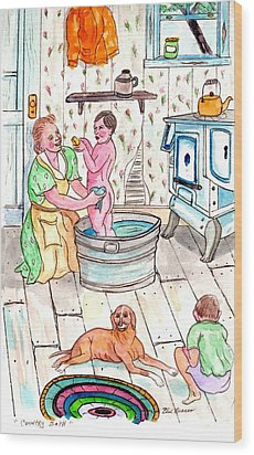 Country Bath Wood Print