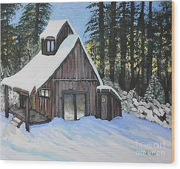 Country Cabin Wood Print by Reb Frost