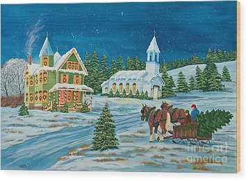 Country Christmas Wood Print by Charlotte Blanchard