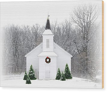 Country Christmas Church Wood Print
