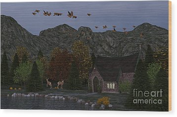 Wood Print featuring the digital art Country Church Autumn At Twilight by Methune Hively