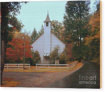Country Church Wood Print by Brenda Bostic
