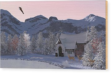 Wood Print featuring the digital art Country Church by Methune Hively