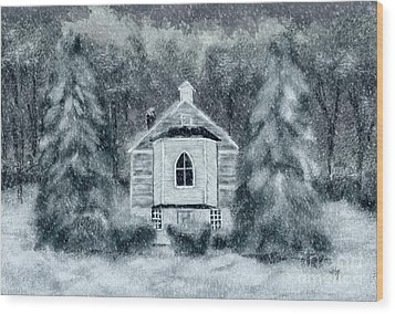 Wood Print featuring the digital art Country Church On A Snowy Night by Lois Bryan