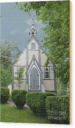 Country Church Wood Print by Rod Wiens