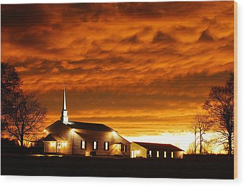 Country Church Sundown Wood Print by Keith Bridgman