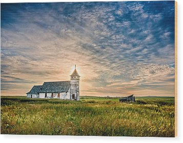 Country Church Sunrise Wood Print