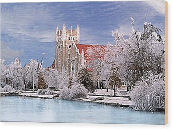 Wood Print featuring the photograph Country Club Christian Church by Steve Karol