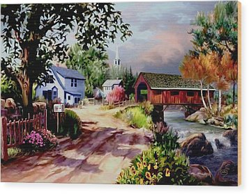Country Covered Bridge Wood Print by Ron Chambers