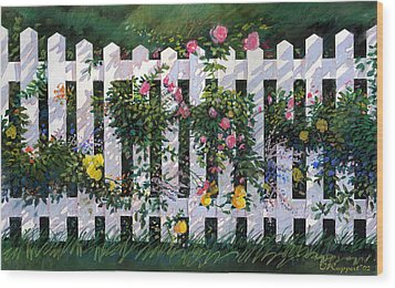 Country Fence Wood Print by Valer Ian