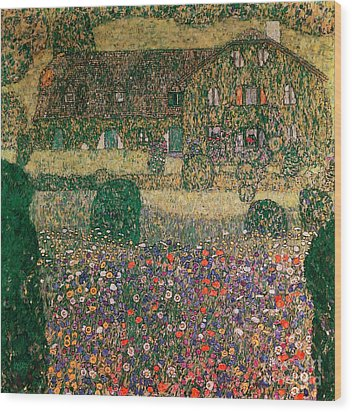 Country House By The Attersee Wood Print by Gustav Klimt