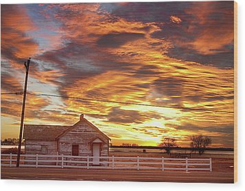 Country House Sunset Longmont Colorado Boulder County Wood Print by James BO  Insogna