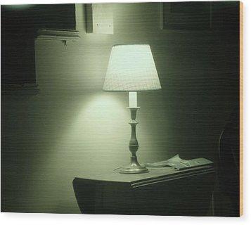 Country Lamp Wood Print by Florene Welebny