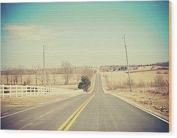 Country Lanes Wood Print by Allison Ruiz