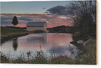 Wood Print featuring the photograph Country Living Sunset by Lara Ellis