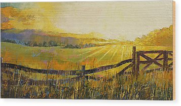 Country Meadow Wood Print by Michael Creese