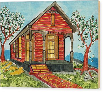 Country New Orleans Shot Gun House Wood Print