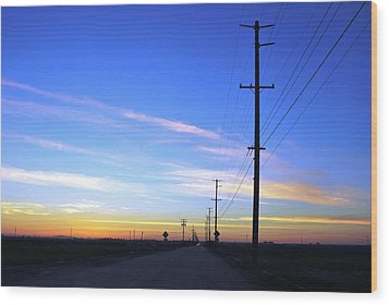 Wood Print featuring the photograph Country Open Road Sunset - Blue Sky by Matt Harang