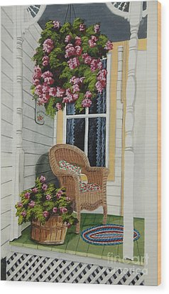 Country Porch Wood Print by Charlotte Blanchard