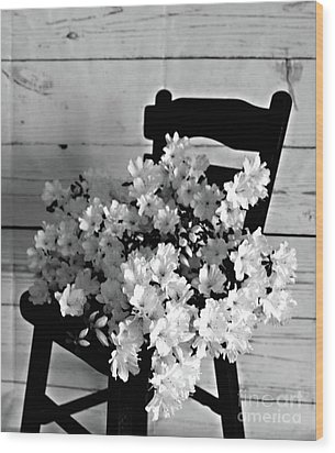 Country Porch In B And W Wood Print by Sherry Hallemeier