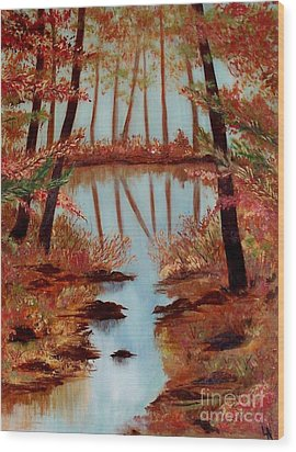 Wood Print featuring the painting Country Reflections by Leslie Allen