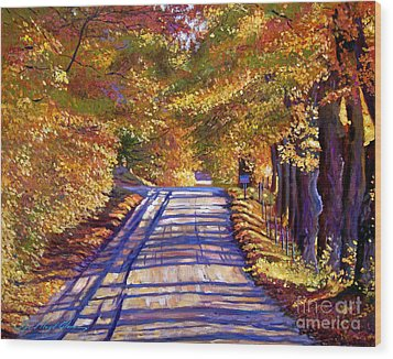Country Road Wood Print by David Lloyd Glover