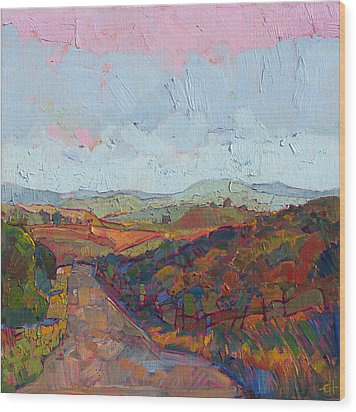 Country Road Wood Print by Erin Hanson