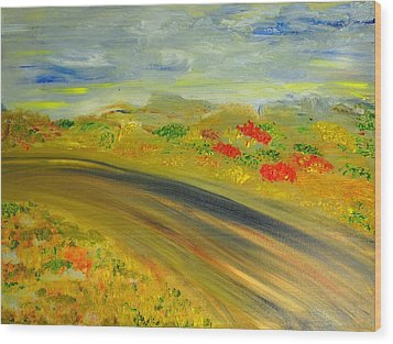Wood Print featuring the painting Country Road by Evelina Popilian