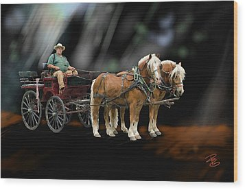 Country Road Horse And Wagon Wood Print