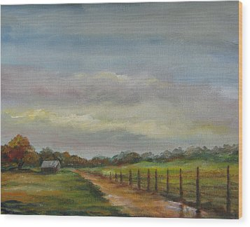 Wood Print featuring the painting Country Road Mud Puddle by Gloria Turner