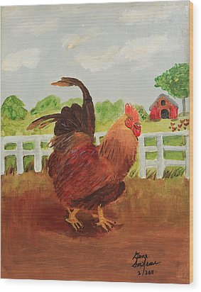 Country Rooster Wood Print by Swabby Soileau
