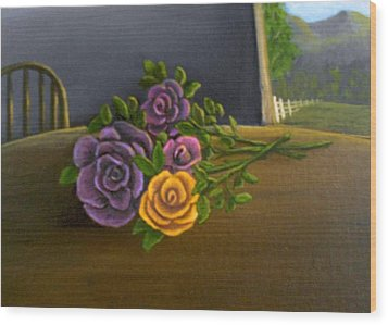 Wood Print featuring the painting Country Roses by Sheri Keith