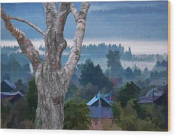 Country Side Morning Mist Wood Print