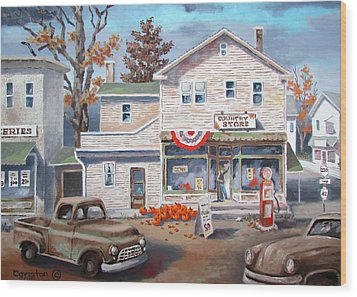 Wood Print featuring the painting Country Store by Tony Caviston