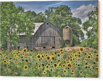 Country Sunflowers Wood Print by Lori Deiter