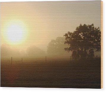Country Sunrise Wood Print by Kimberly Camacho