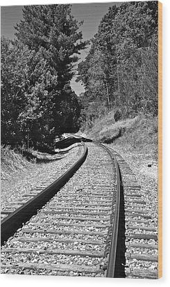 Country Tracks Black And White Wood Print