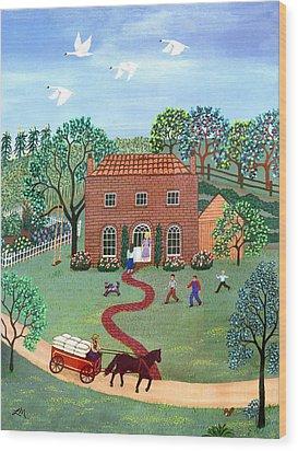 Country Visit Wood Print by Linda Mears