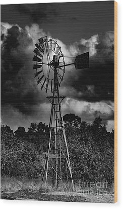 Country Windmill Wood Print