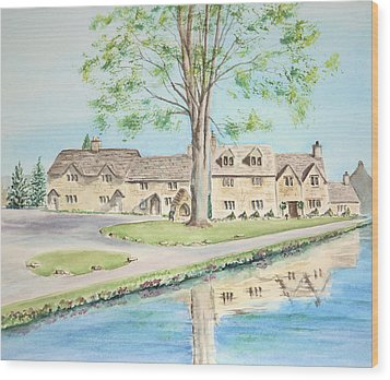 Wood Print featuring the painting Countryside Cottages by Elizabeth Lock
