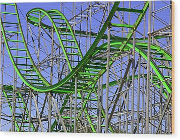 County Fair Thrill Ride Wood Print by Joe Kozlowski