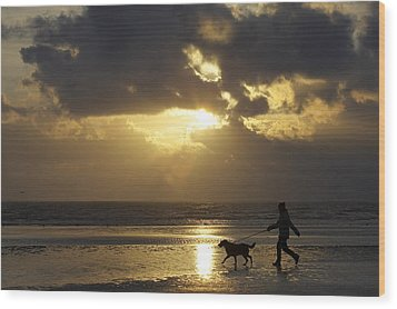 County Meath, Ireland Girl Walking Dog Wood Print by Peter McCabe