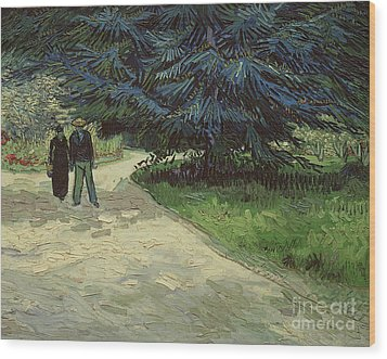 Couple In The Park Wood Print by Vincent Van Gogh
