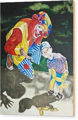 Wood Print featuring the painting Couple Of Clowns by Lance Gebhardt