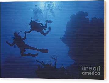 Couple Of Divers Holding Hands Wood Print by Sami Sarkis