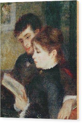 Couple Reading Wood Print by Pierre Auguste Renoir