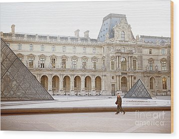Wood Print featuring the photograph Couple Strolling At Louvre Museum  by Ivy Ho