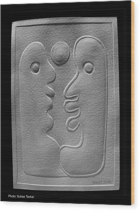Wood Print featuring the relief Couple by Suhas Tavkar