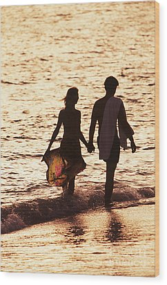 Couple Wading In Ocean Wood Print by Larry Dale Gordon - Printscapes
